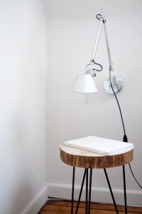scandinavian home wood table and lamp
